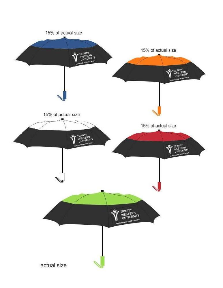"Colour Top Folding Umbrella 46"" Arc TWU Logo"